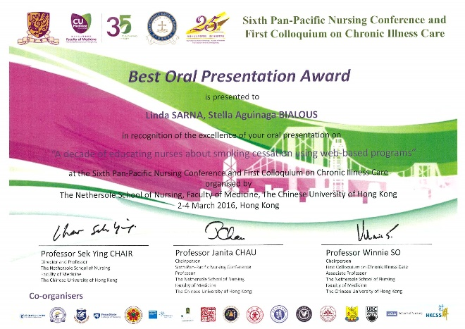 Sarna_6th Pan-Pacific Nursing Conf. Award